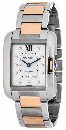 Cartier Tank Anglaise Silver Diamonds Dial 18ktRG Women Watch - WT100034