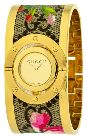 Gucci Twirl Bloom Gold-Tone Dial and Floral Steel Watch YA112443