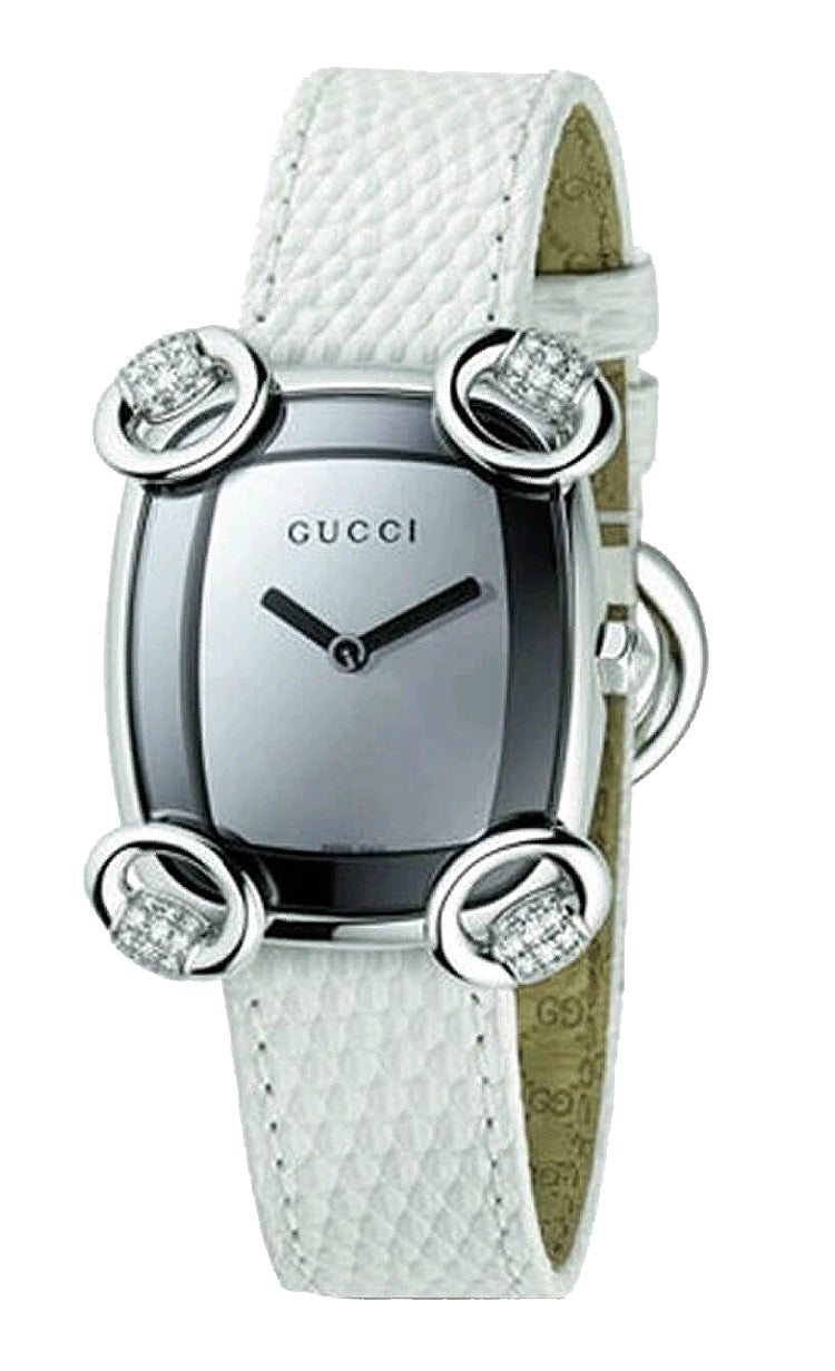 Gucci YA117506 Horsebit Women's White Leather Diamond Dress Watch