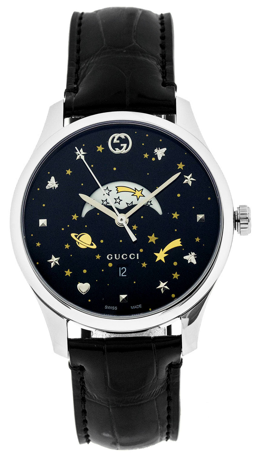 Gucci G-Timeless Slim Moonphase Black Leather Bands Men Watch YA126327