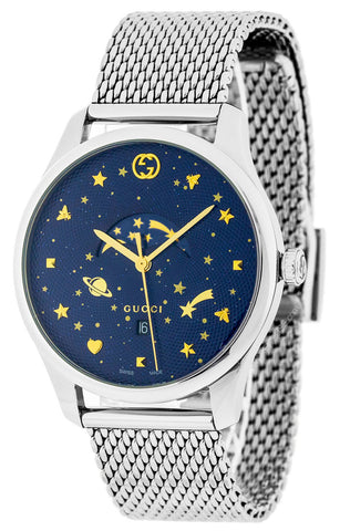 Gucci G-Timeless Slim Moonphase Blue Dial Mesh Bracelet Watch YA126328