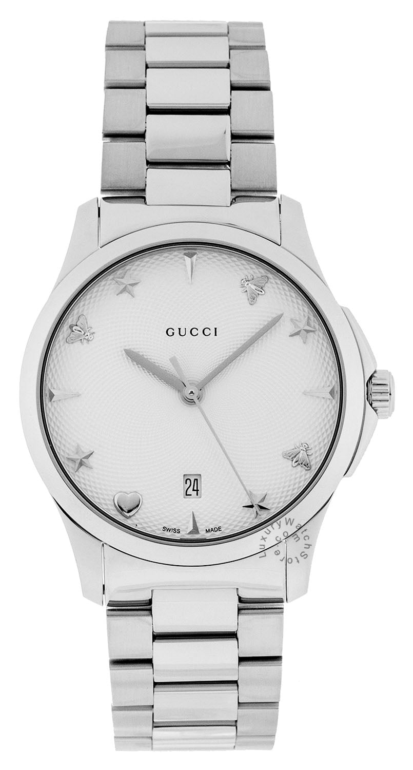 Gucci G-Timeless 38mm Silver Guilloché Dial Steel Watch YA1264028