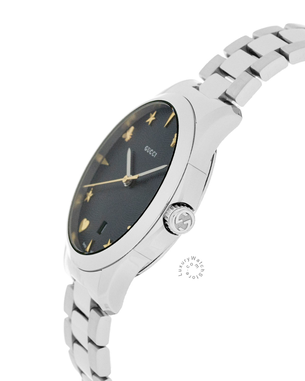 3ab329f05b5 Gucci G-Timeless 38mm Black Guilloché Dial Steel Women Watch YA1264029