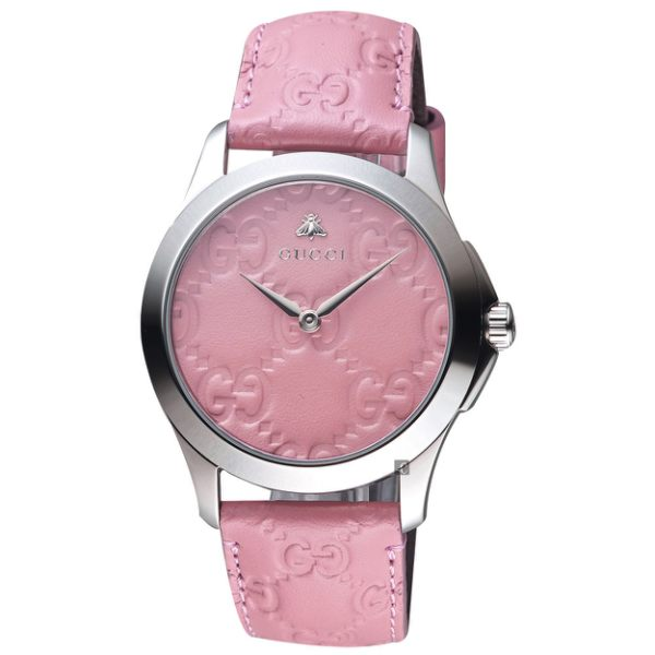 Gucci G-Timeless Guccissima Motif Pink Dial Leather Watch YA1264030