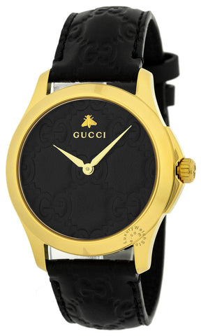 Gucci G-Timeless Black GG Dial Stainless Steel Ladies Watch YA1264034