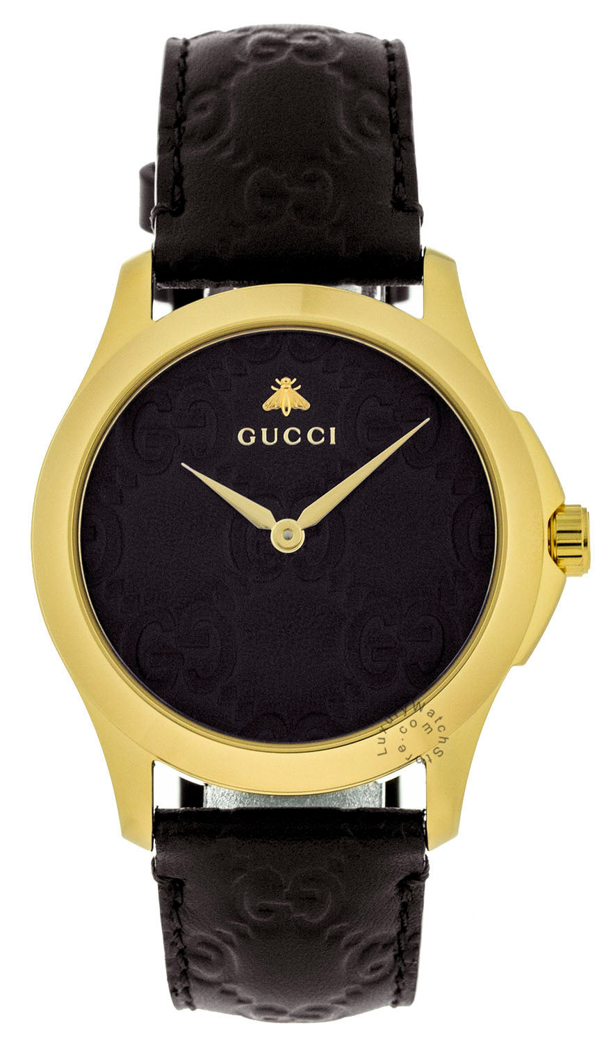 Gucci G-Timeless Leather Guccissima Embossed Gold PVD Watch YA1264035