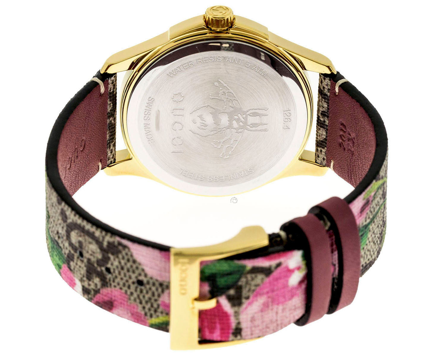 Gucci G-Timeless Blooms Print GG Supreme Gold PVD SS Watch YA1264038
