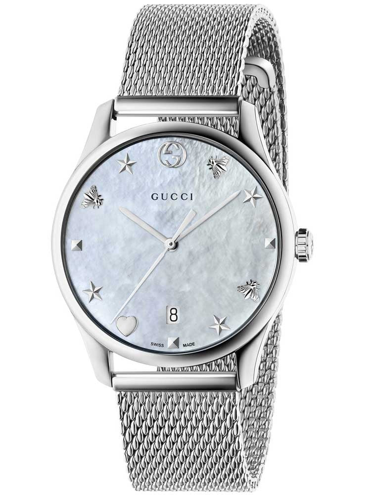 Gucci G-Timeless Mother of Pearl Dial Mesh Bracelet SS Watch YA1264040