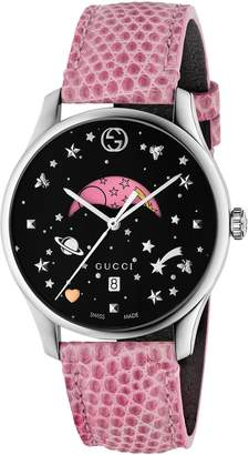 Gucci G-Timeless Slim Moonphase BLK Dial Pink Leather Watch YA1264046