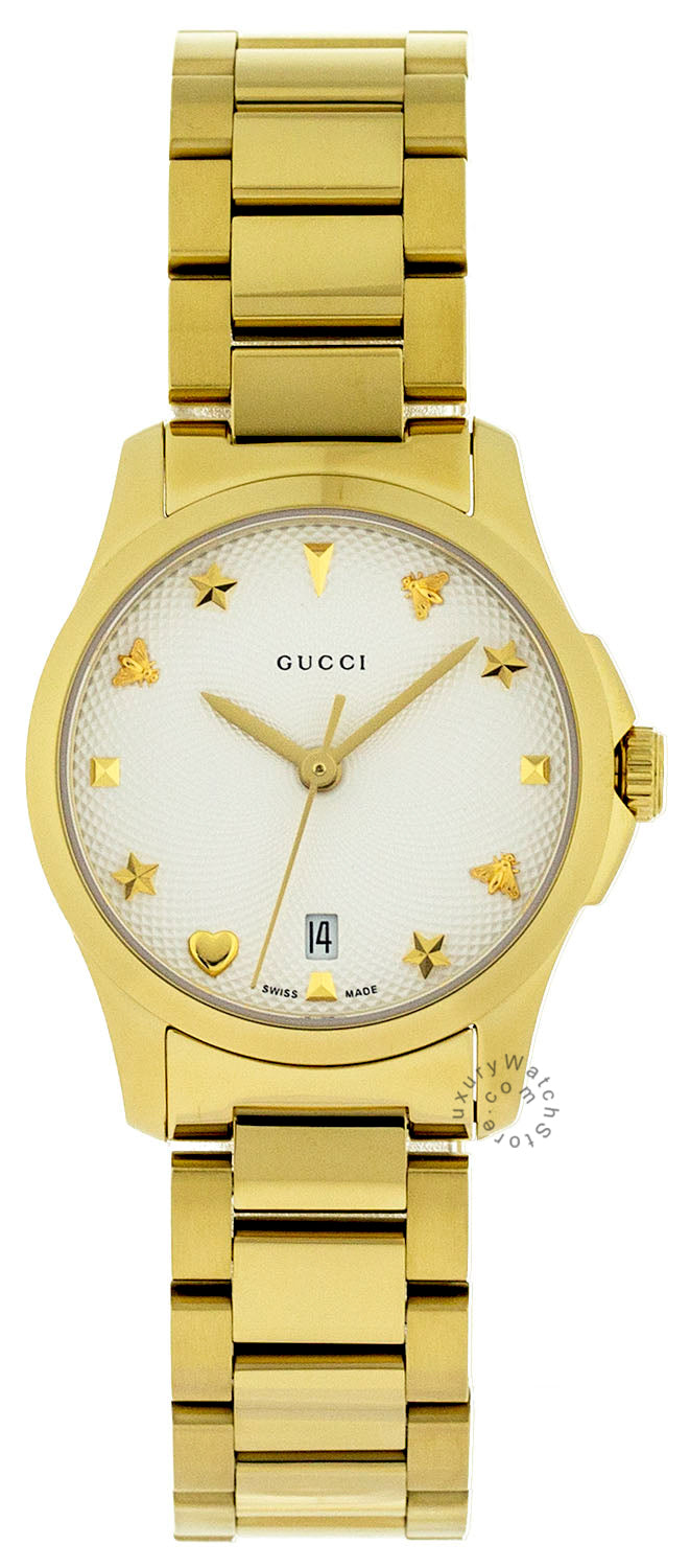 Gucci G-Timeless Silver Dial Yellow Gold-Tone Steel Watch YA126576