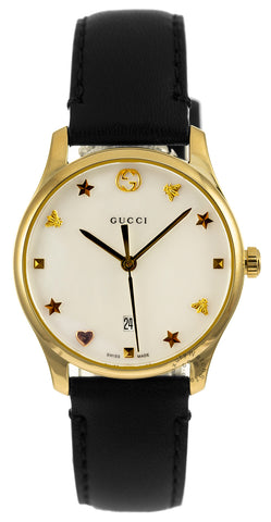 Gucci G-Timeless Mother of Pearl Dial PVD Gold Steel Watch YA126589