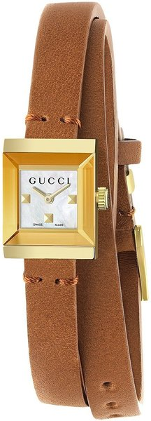 Gucci G-Frame Yellow Gold PVD Mother Of Pearl Dial Leather YA128521