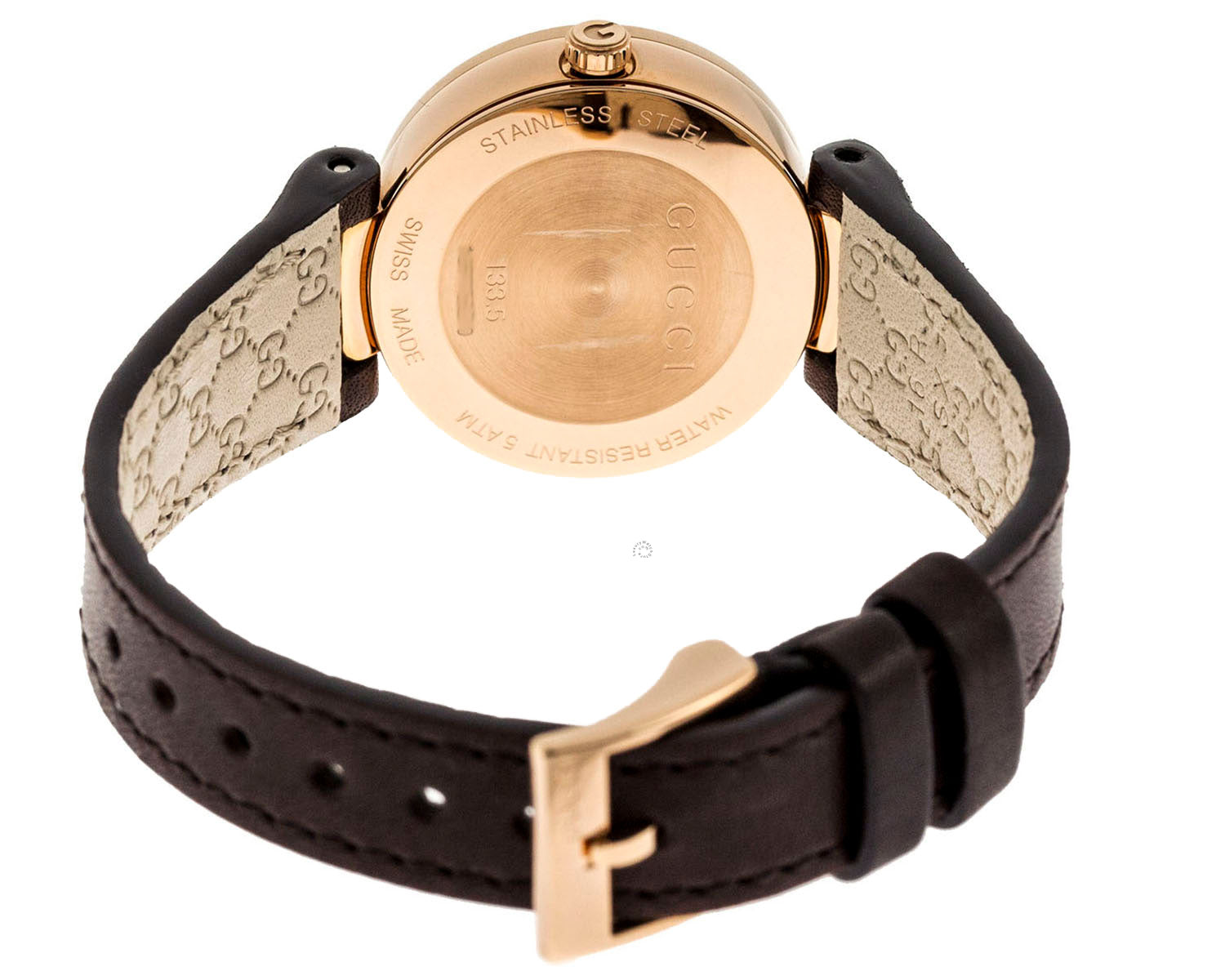 Gucci Interlocking G SM MOP Dial RG PVD Leather Women Watch YA133516