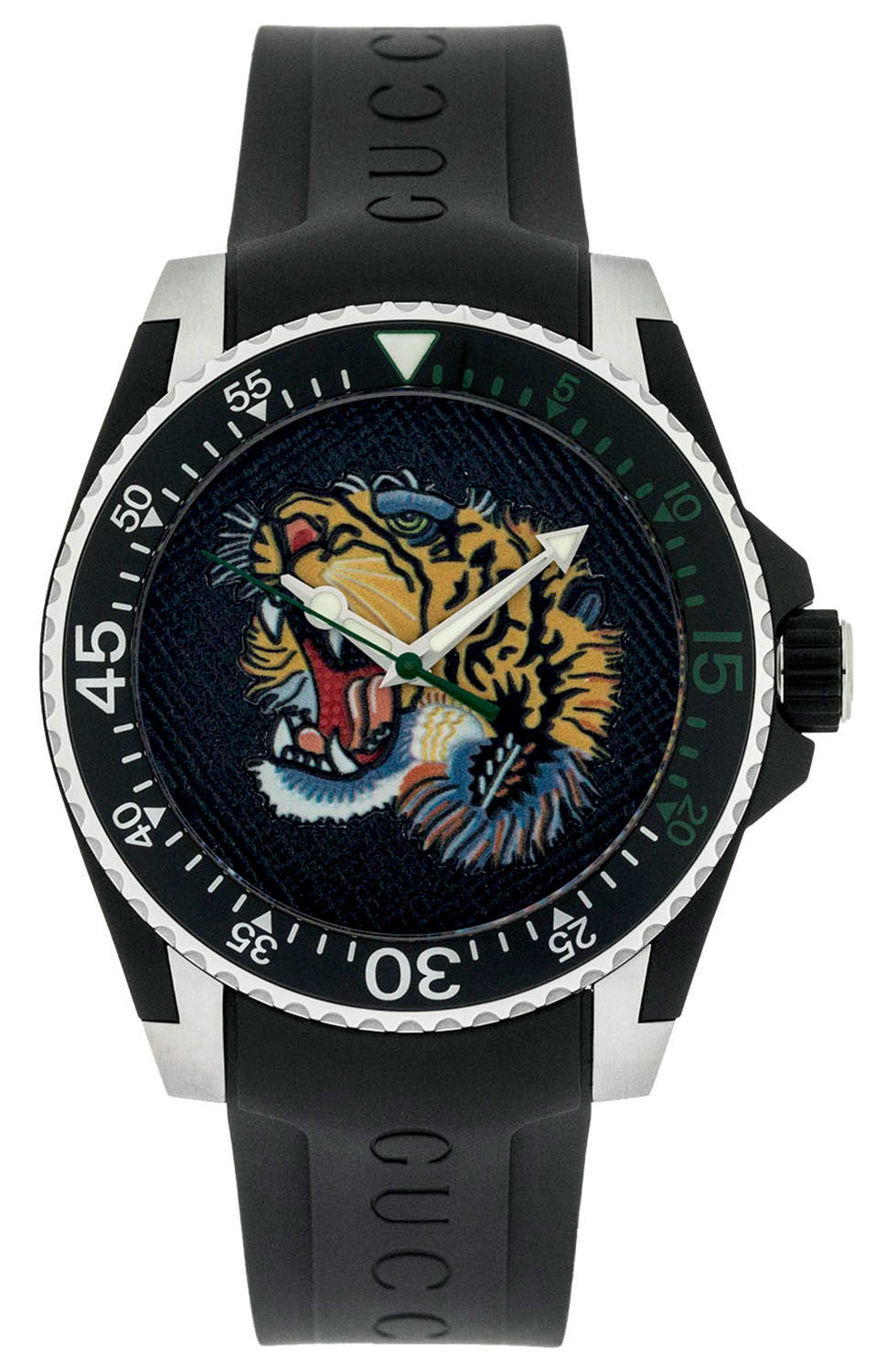 Gucci Dive Tiger Embroidery Rotating Bezel Rubber Men Watch YA136318