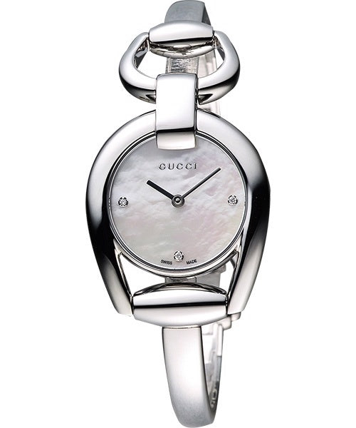 Gucci Horsebit Small White Pearl Dial 3 Diamonds Steel Watch YA139506