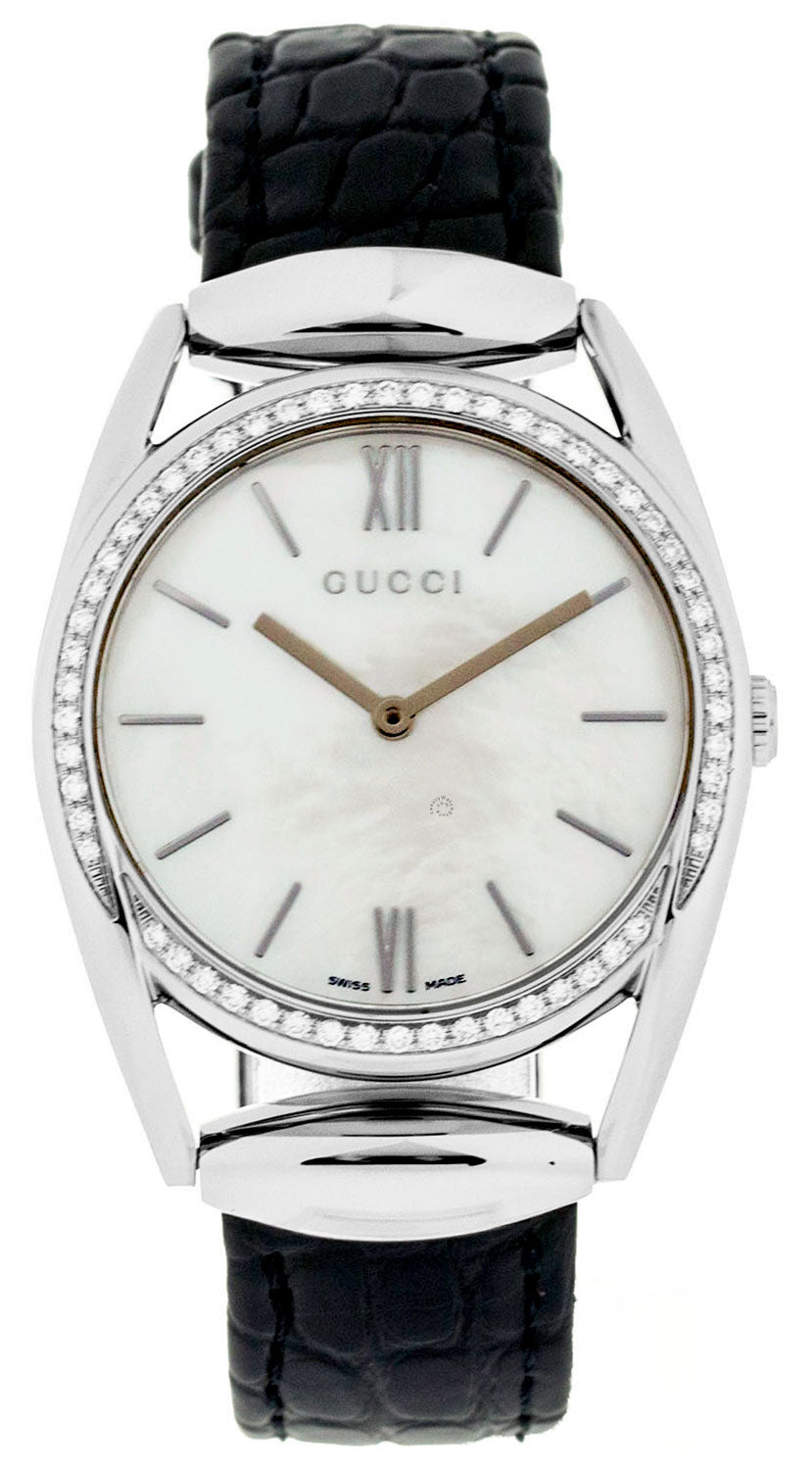Gucci Horsebit MED 56 DIA 0.57 ct. Pearl Dial Leather Watch YA140406