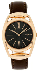Gucci Horsebit MED Leather Pink Gold PVD Steel Brown Watch YA140408