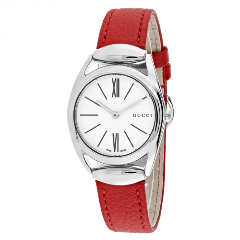 Gucci  Horsebit 30MM White Dial Red Leather Strap Women Watch YA140501