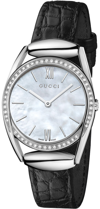 Gucci Horsebit 52 DIA 0.34 ct. White Pearl Dial Leather Watch YA140506