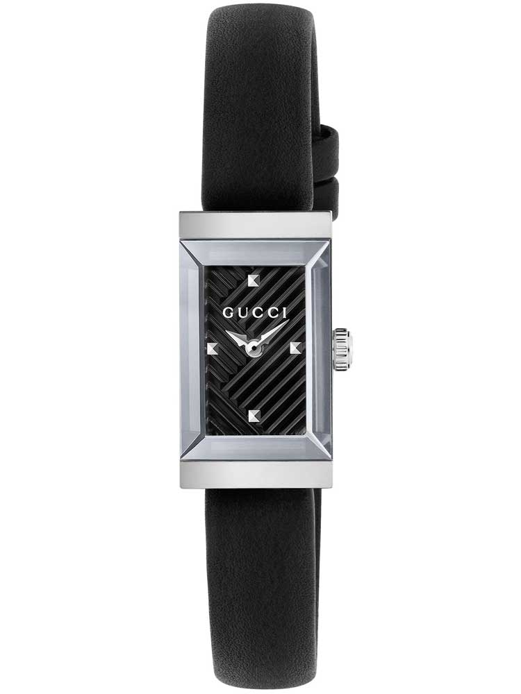 Gucci G-Frame Black Dial Black Leather Strap Women's Watch YA147504
