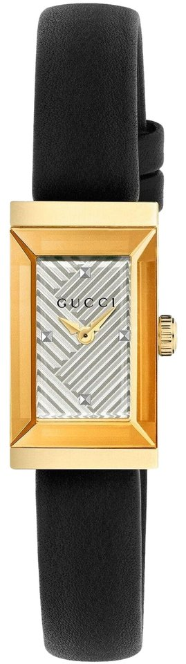 Gucci G-Frame Silver Dial BLK Leather Strap Gold PVD SS Watch YA147506