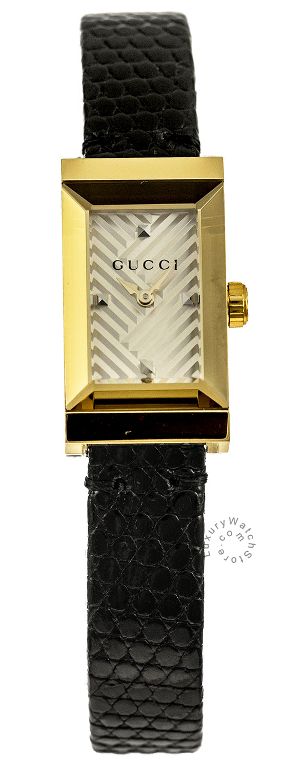 Gucci G-Frame 14x25MM Yellow Gold PVD Black Leather Strap Women's Watch YA147507