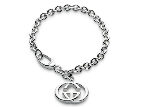 Gucci G Interlocking Charm Britt Sterling Silver Bracelet YBA190501001