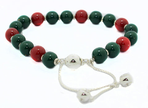 Gucci Boule Britt Red Green Wood Beads Silver Bracelet YBA310541001