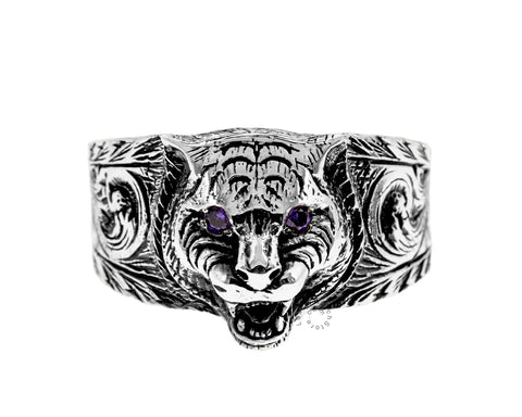 Gucci Garden Aureco Black Finish Sterling Silver 925 Ring YBC455327002