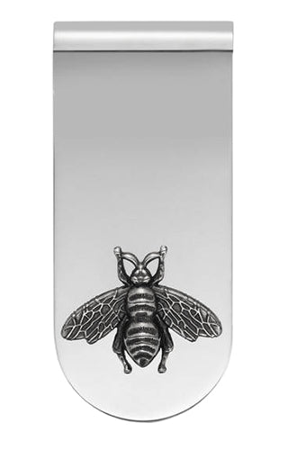 Gucci Bee Motifs Aureco BLK Finish Silver 925 Money Clip YBF456907001