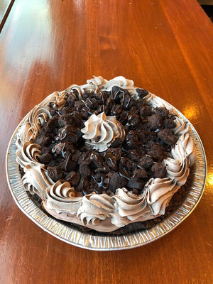 n this homemade chocolate crust you'll find our Chocolate Chunks ice cream. Accompanying the ice cream are pieces of brownies and fudge surrounded by chocolate whipped cream to make for the ultimate Chocolate Pie.