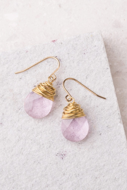 Bridget Light Pink Crystal Earrings