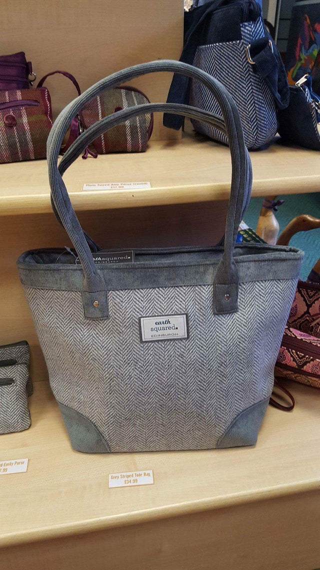 Grey Striped Large Handbag