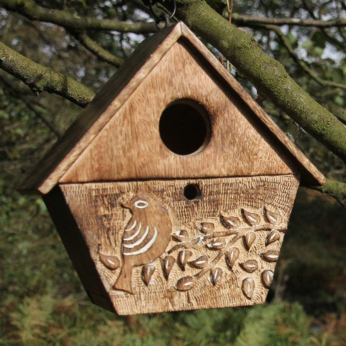 Mango Wood Bird Birdhouse