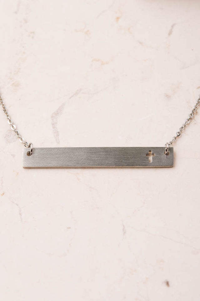 Layla Silver Bar Cross Necklace