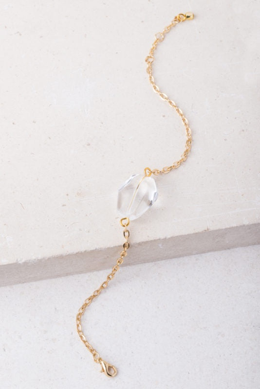 Grace White Crystal and Gold bar Bracelet