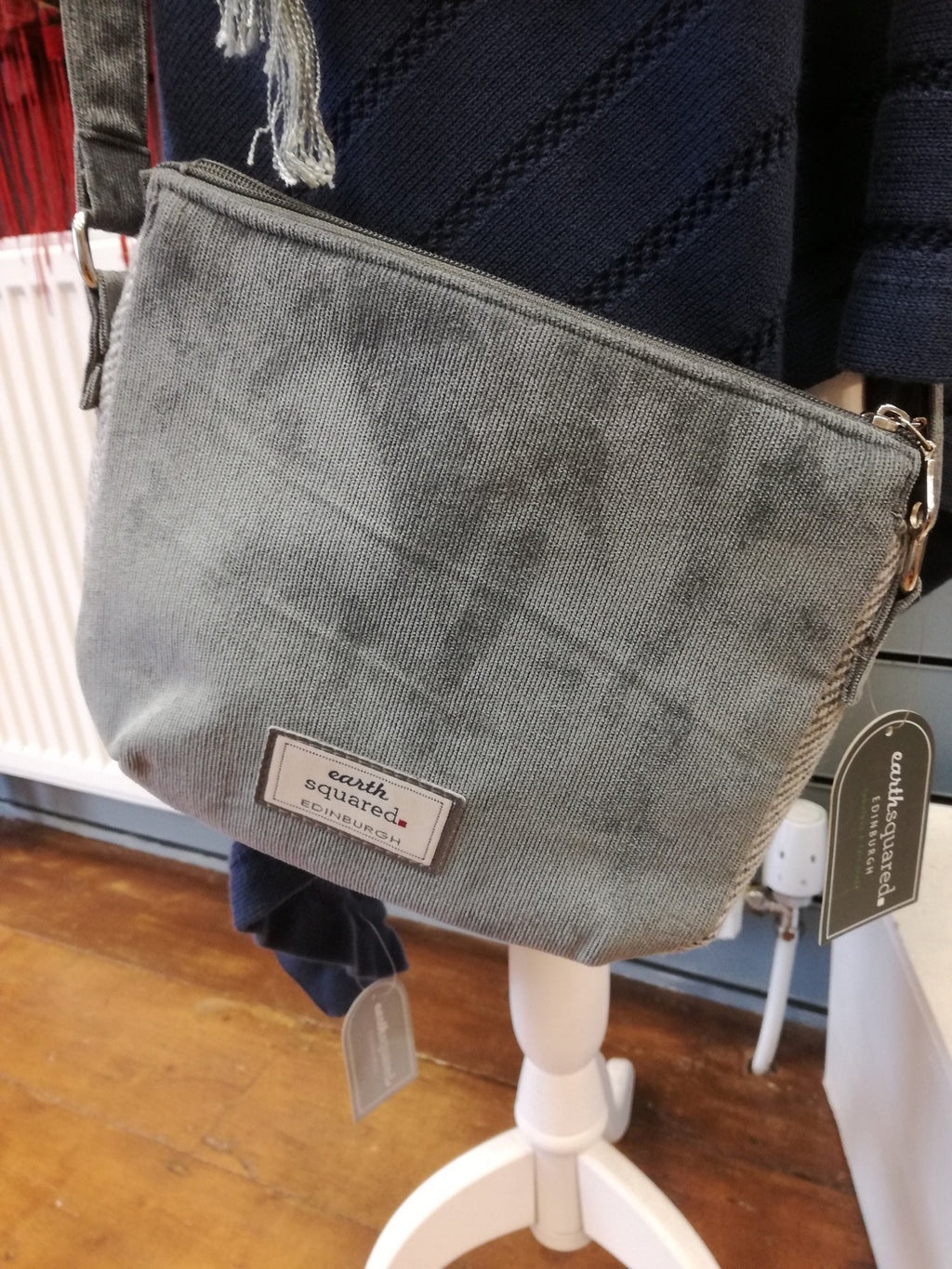 Grey Striped Small Handbag