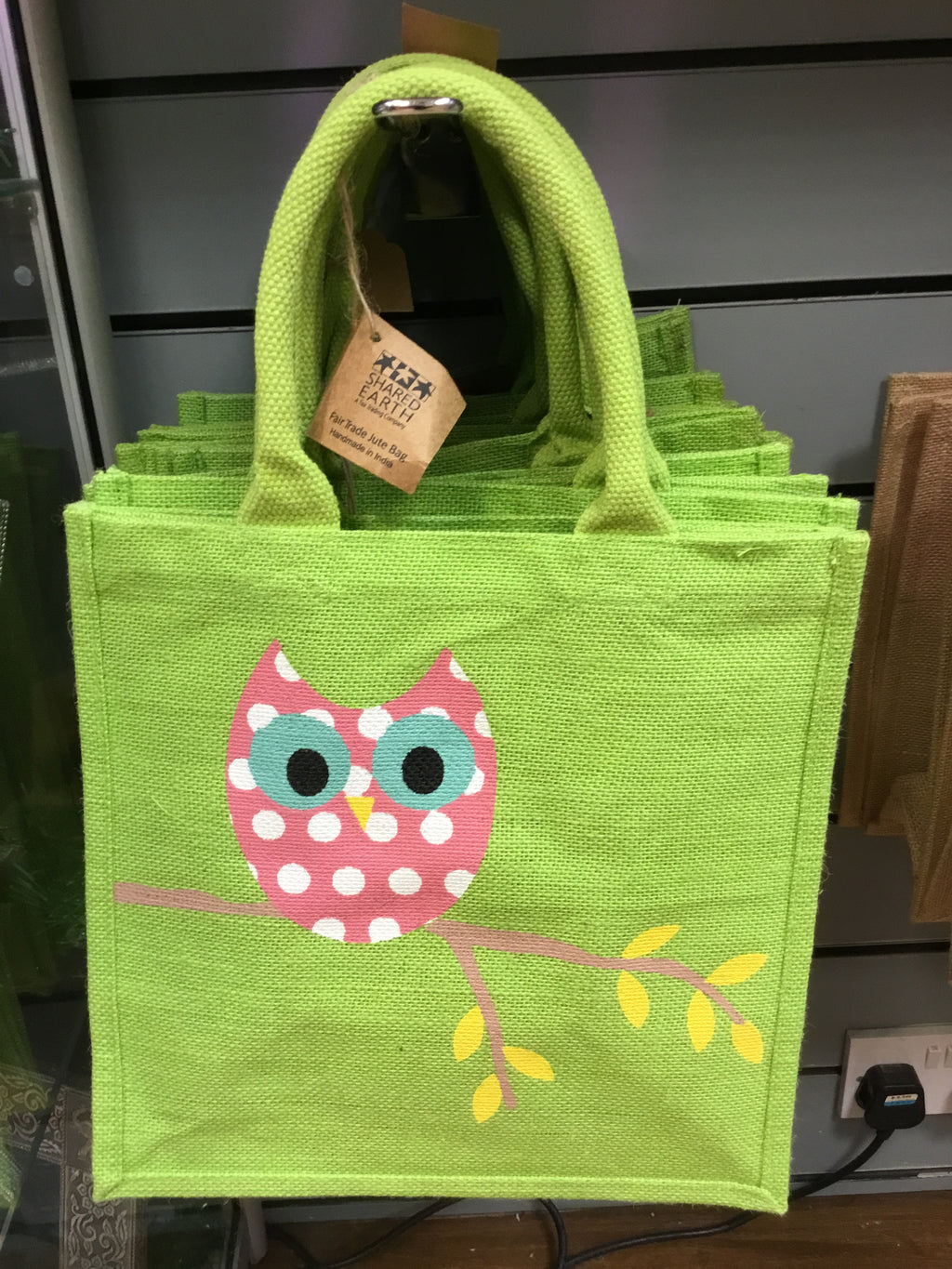 Small Pale Green Owl Jute Bag
