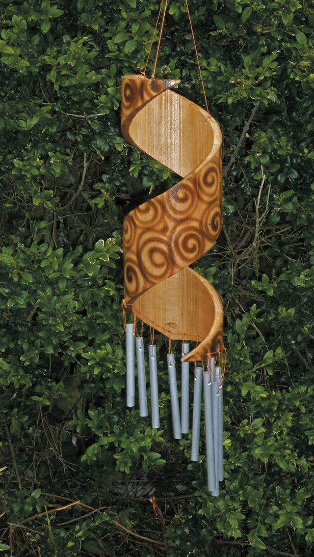 Bamboo Metal Chime Large Spiral  - Burnt Motif