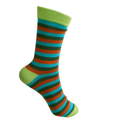 Bamboo Socks (Womens) - Stripes Green/Brown