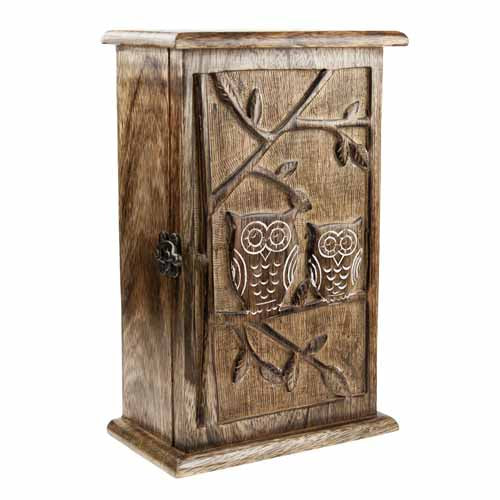 Mango Wood Owl Key Cabinet