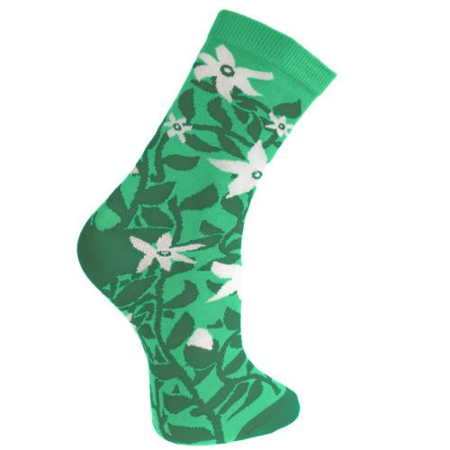 Bamboo Socks (Womens) - Green White Flowers