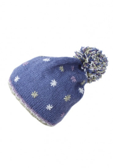 Bobble Beanie Snow in Summer Denim