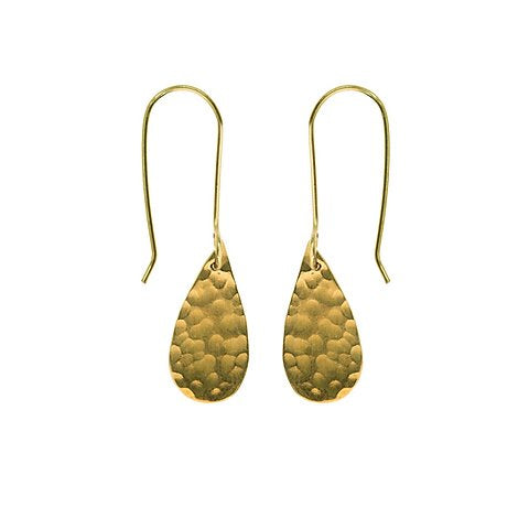 Hammered Brass Raindrop Earrings