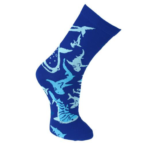 Bamboo Socks (Mens) - Blue Sharks