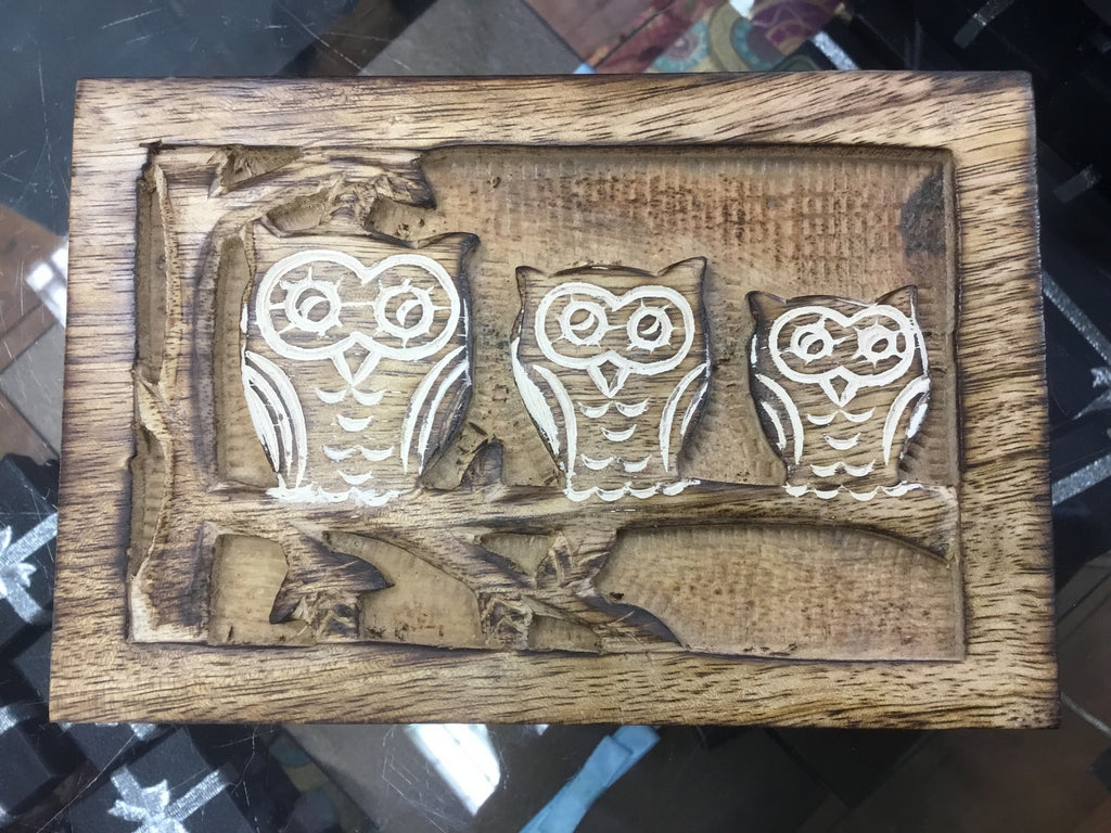 Mango Wood Owl Box