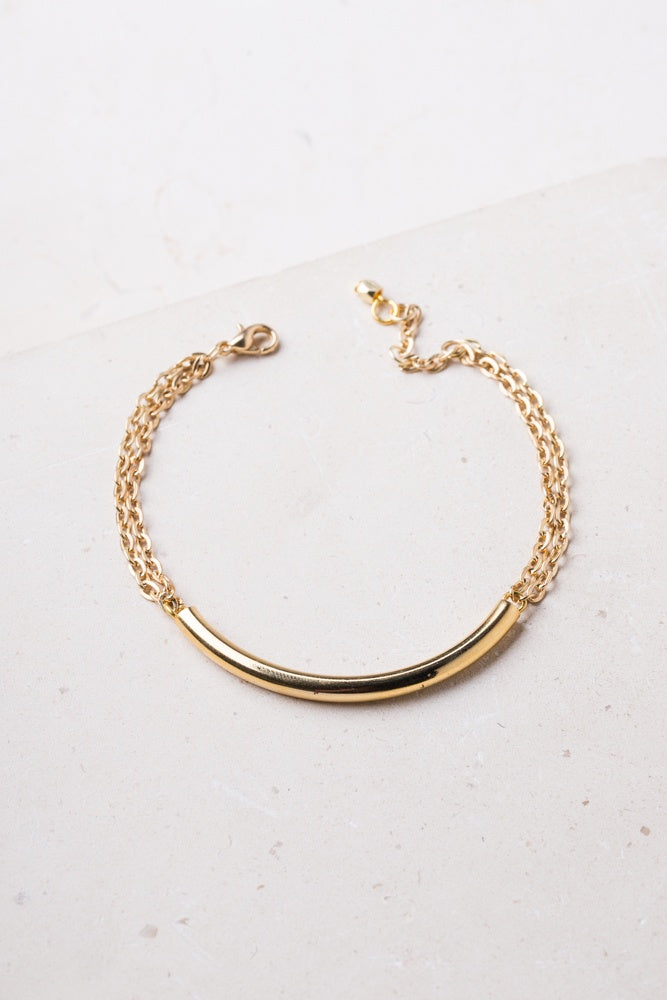 June Bright Gold Bar Bracelet