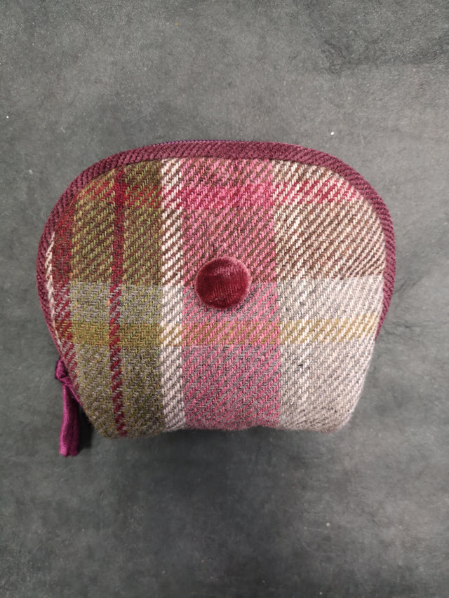 Plum Tweed Round Purse