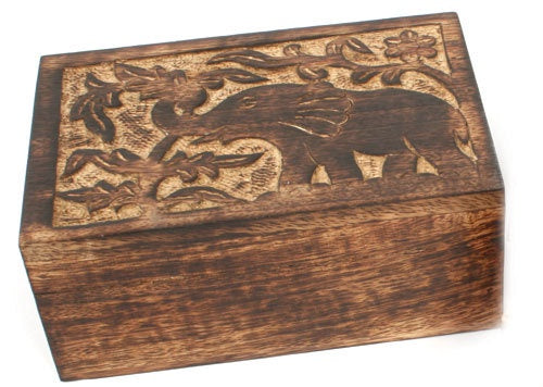 Mango wood box Elephant