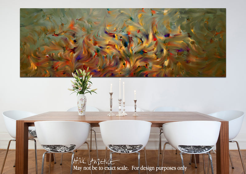 Interior Design Inspiration- 2 Corinthians 5:7. Faith- Not Emotion. Limited Edition Christian Modern Art Panoramic. Ultra-hand embellished and textured with rich brush strokes by the artist. Signed & numbered brightly colored Christian abstract art. Find Art That Speaks To You! For we walk by faith, not by sight. 2 Corinthians 5:7